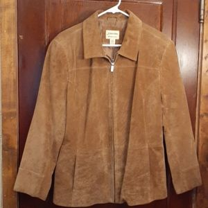 Washable tan suede jacket with two front pockets.